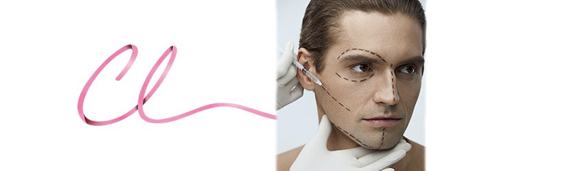 Ilustração de uma Face Masculina Durante o Procedimento